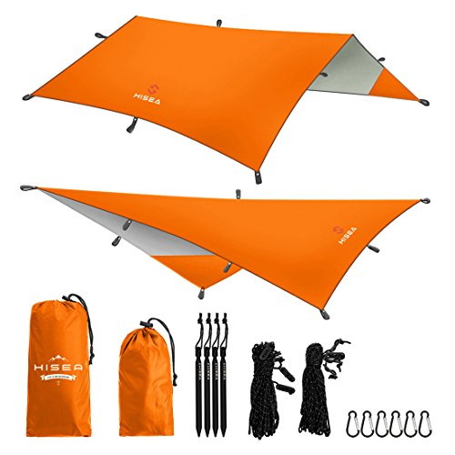 Hisea Hammock Rain Fly Tent Tarp Shelter 3m x 3m – Waterproof lightweight Rainfly Sun Shelters and Sunshade for Outdoor Camping Picnic Travel Beach Hiking Fishing, 4 Colors – DiZiSports Store