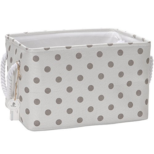 Sea Team Collapsible Rectangular Fabric Storage Bin Decorative Wardrobe Shelf Basket Organizer with Rope Handles for Clothes Storage & Toy Organizer (Grey Polka Dot) -