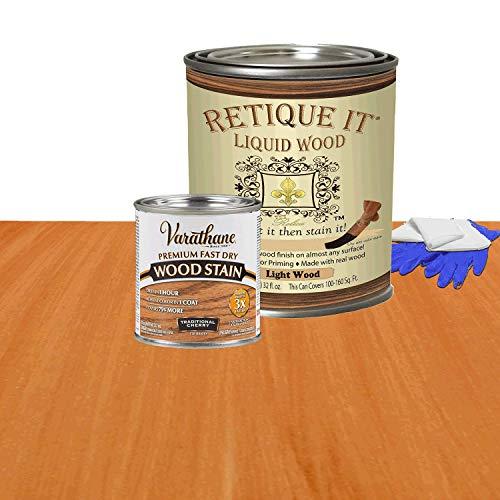 Retique It Liquid Wood - Quart Light Wood w/Traditional Cherry Stain -Stainable Wood Fiber Paint- Put a fresh coat of wood on it (32oz LW Trad Cherry) ()