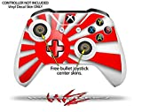 Rising Sun Japanese Flag Red - Decal Style Skin Set fits XBOX One S Console and 2 Controllers (XBOX SYSTEM SOLD SEPARATELY)