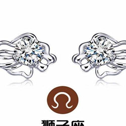 HJPRT delicate sterling silver stud earrings earings dangler eardrop elegant women girls hypoallergenic ear acupuncture ear rods support unique constellation cute couple lover (leo