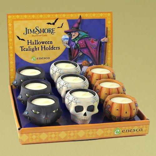 - Jim Shore Halloween Skull Tealight Candle Holder