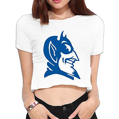 Kakakaoo Women's Crop Top T Shirts Cool Duke University Football White Size L