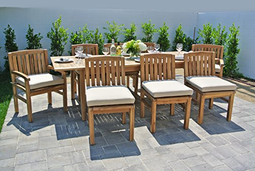 Fabric Outdoor Coal (Willow Creek Designs 9 Piece Huntington Teak Dining Set with Expansion Table and Sunbrella Cushion, 170