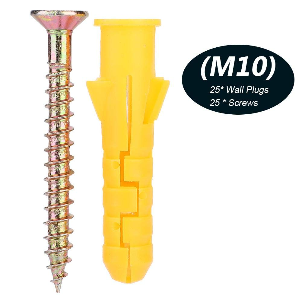 10mm 25 Pcs//Package Expandable Anchor Tube Tapping Screw Strong Anti Rotation Fixing Tool Square Cut Bolt for Concrete Brick Dry Wall Board Wall Plastic Anchor