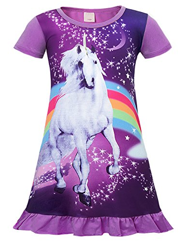 Cotrio Girls Unicorn Star Rainbow Print Nightgown Nightie Princess Night Dresses Size 6 (120, 4-5Years, (Girls 4 Sleepwear)