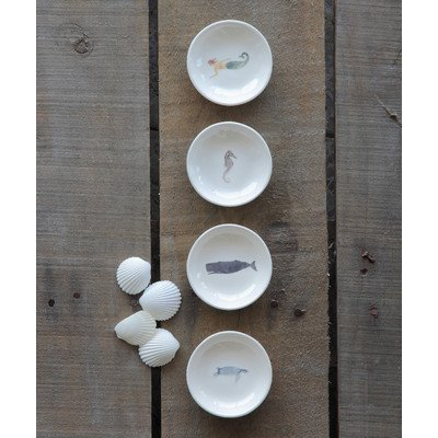 Waterside 4 Piece Sea Life Ceramic Platter Set