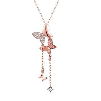517b5b042 Buy Yellow Chimes 18K Rose Gold Plated Butterfly Dual Charm Pendant for  Girls and Women Online at Low Prices in India | Amazon Jewellery Store -  Amazon.in