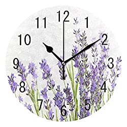 ALAZA Home Decor Watercolor Lavender Flower Round Acrylic 9 Inch Wall Clock Non Ticking Silent Clock Art for Living Room Kitchen Bedroom