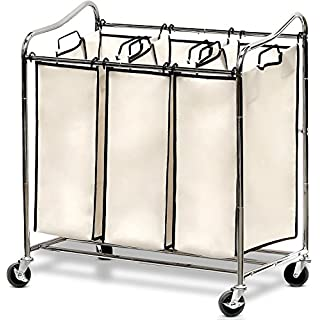 Laundry basket sorter do it yourselfore simple houseware heavy duty 3 bag laundry sorter cart chrome solutioingenieria Image collections