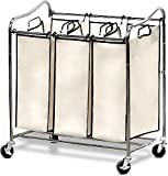 SimpleHouseware Heavy-Duty 3-Bag Laundry Sorter Cart, Chrome