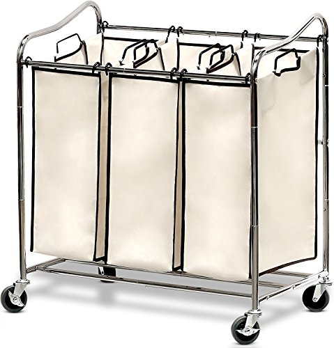 A set of three laundry bags with a metal frame.