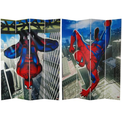 Oriental Furniture 7 ft. Tall Double Sided Spider-Man Wall Crawler Canvas Room Divider