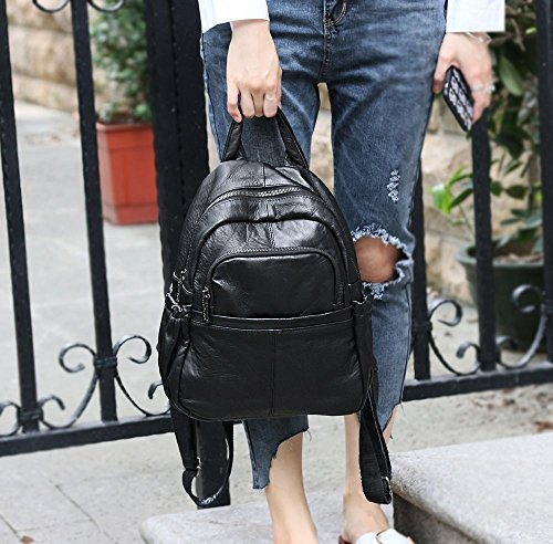 QUEEN Leather ipad FB6 Mini Casual Rucksack Shoulder for phone Black Notebook Bag Fashion Purse Backpack leather Women ANNA ETdvE