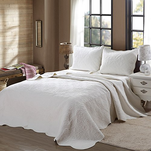 Cozy Line Scalloped Edge Solid Ivory 3-Pcs Quilt Set, King (King Clearance Quilt)