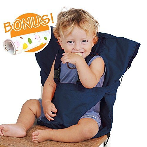 Baby HighChair Harness | Portable Travel Safety Belt Booster Feeding High Chair Seat Cover Sack Cushion Bag for Baby Kid Toddler | Secure with Adjustable Straps | Include Hand Wash Cloth | Dark Blue