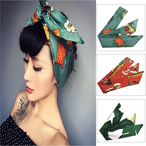 Price comparison product image Vintage Women Headband 3 Pcs Cotton Floral Printed Turban Hair Wrap Retro Hairband
