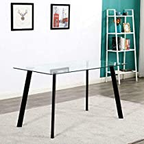 Breakfast 5 Piece Dining Table Set Black 4 Chair Glass Metal Kitchen Dining Room