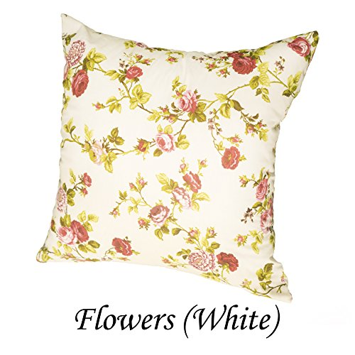 Deco Euro Sham Pillow Case Protector 18 x 18, 20 x 20, 24 x 24, 26 x 26. (26 x 26, Red/White Flowers)