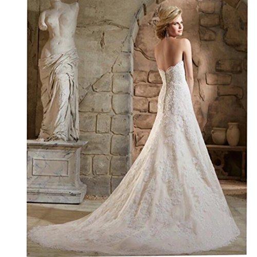 Bridal White Dresses Women's Lace Dimei Gowns Sweep Long Wedding Train Sweetheart Mermaid IPwwxFqpz