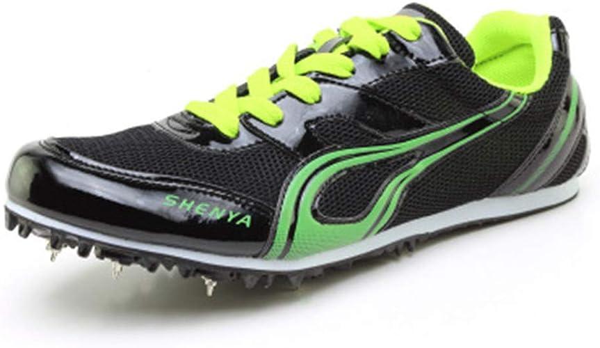 Colorfulhome Athletics Zapatos Ligeros con Pinchos para Correr Largos Saltos de Malla para Hombres Zapatillas de Pista y Zapatos de Campo, Negro (Negro), 37 EU: Amazon.es: Zapatos y complementos