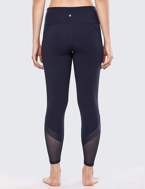 CRZ YOGA Mujer Leggings a Raya de Cintura Alta 7/8 Pantalon Yoga Deportivos con Malla-24