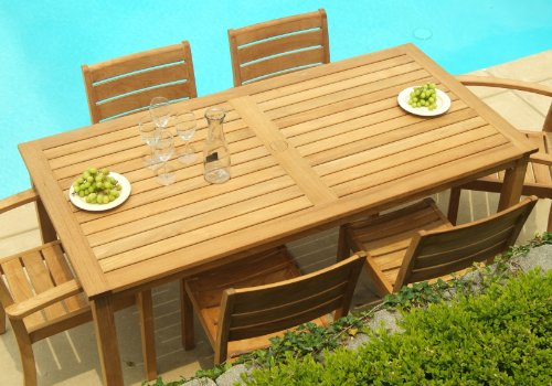 Three Birds Casual Brunswick Rectangle Dining Table, 72-Inch (Frame Teak Plantation)