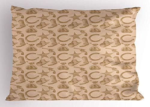 Western Engraving (K0k2t0 Western Pillow Sham, Engraving Style Star Boot and Money Revolver Line Pattern Worn Out Dotted Backdrop, Decorative Standard Queen Size Printed Pillowcase, 30 X 20 inches, Tan Brown)