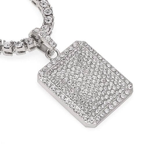 Flat Tag Pendant Link (HongBoom Hip Hop Cuban Link Chain 14K Gold Plated CZ Fully Iced-Out Bling Bling Tag Pendant (Silver))