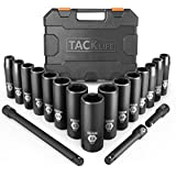 Drive Impact Socket Set, Tacklife 18pcs 1/2-inch Drive Deep Impact Socket Set, 6 Point, 10-24mm, 15pcs Metric Sockets with 3pcs 1/2-Inch Drive Impact Extension Bar Set - HIS1A
