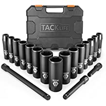 Drive Impact Socket Set, Tacklife 18pcs 1/2-inch Drive Deep Impact Socket Set, 6 Point, 10 - 24mm, 15pcs Metric Sockets with 3pcs 1/2-Inch Drive Impact Extension Bar Set - HIS1A