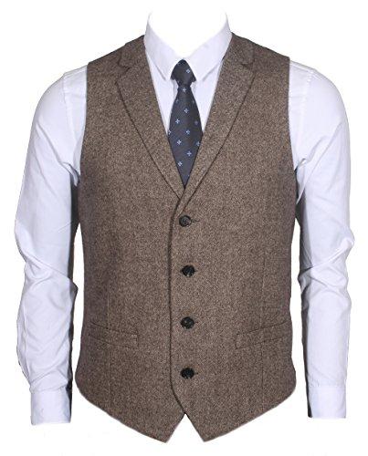 Tweed Waistcoat - Ruth&Boaz 2Pockets4ButtonsWoolHerringbone/TweedTailoredCollarSuitVest (XXXL, Tweed brown)