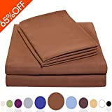 "Balichun Luxurious Bed Sheet Set-Highest Quality Hypoallergenic Microfiber 1800 Bedding Super Soft 4-Piece Sheets with 18"" Deep Pocket Fitted Sheet Twin/Full/Queen/King/Cal King Size (CAL King,Brown)"