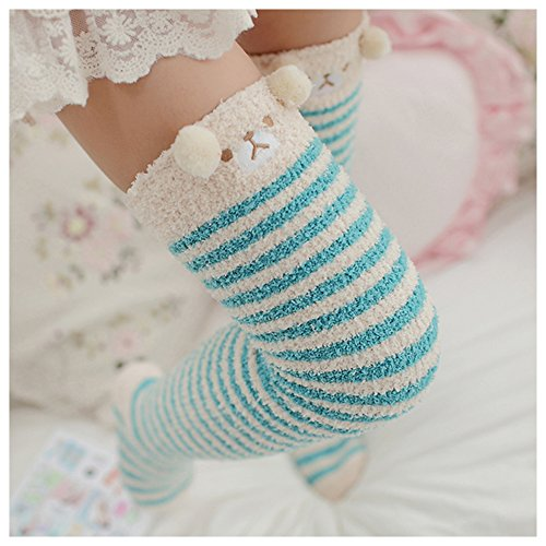 Bopstyle Christmas Soft Warm Socks Coral Velvet Knee High Stockings for Girls Gift,Light Blue,One Size