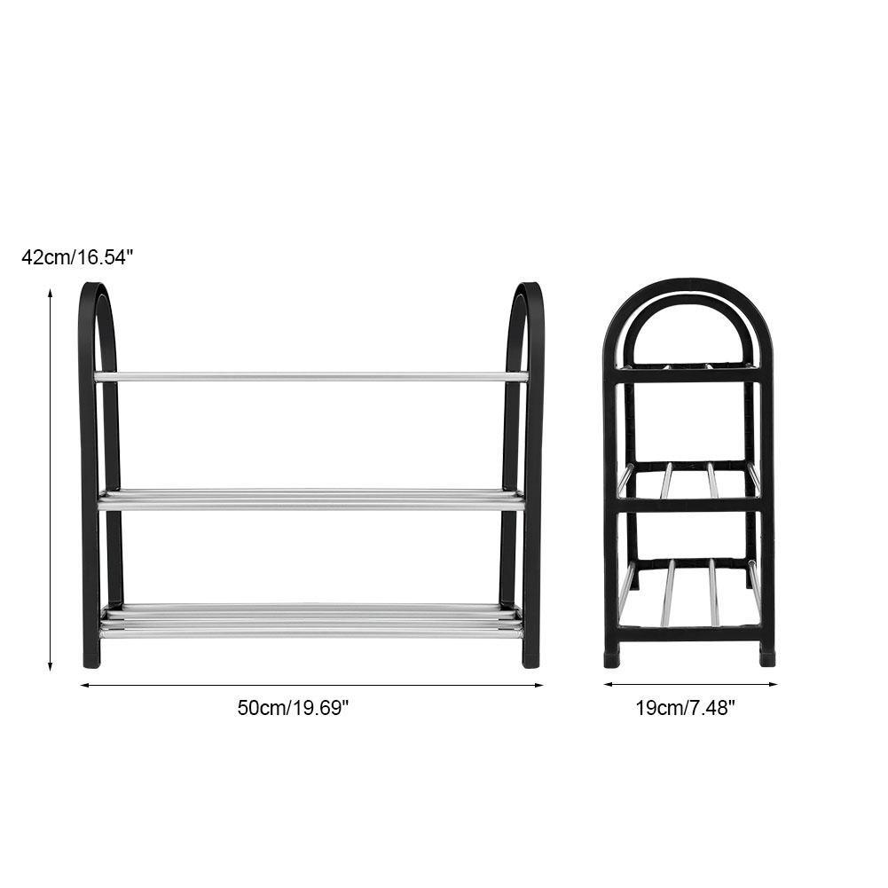 Porta Scarpe Scarpiera Armadio Mobile Mensola per Scarpe Scarpiere Moderne Salvaspazio Organizzatore di Stoccaggio di Scarpe in Metallo di Plastica Alluminio Mezzo 3 strati50*19 * 42CM
