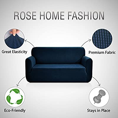 Rose Home Fashion RHF Jacquard-Stretch Sofa Cover, Slipcover for Leather Couch-Polyester Spandex Sofa Slipcover&Couch Cover for Dogs, 1-Piece Sofa Protector(Chair: Dark Gray)