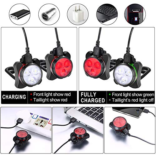 Akale Rechargeable Bike Light Set, Super Bright LED Bicycle Lights Front and Rear, 4 Light Mode Options, 650mah Lithium Battery, Bike Headlight, IPX4 Waterproof, 2 USB Cables 3 Strap Included by Akale (Image #4)