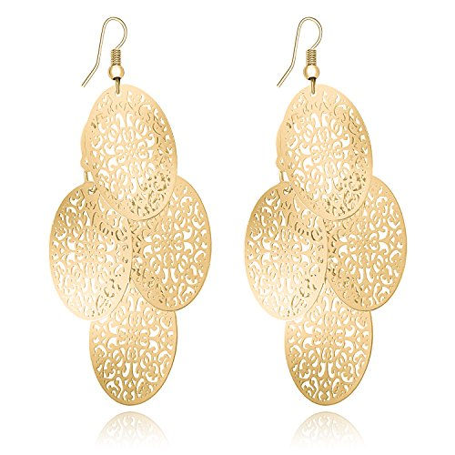 - Fashion Women Lightweight Hollow Filigree Layer Earrings Gold Chandelier Teardrop Oval Dangle Earrings