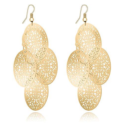 Fashion Women Lightweight Hollow Filigree Layer Earrings Gold Chandelier Teardrop Oval Dangle Earrings ()