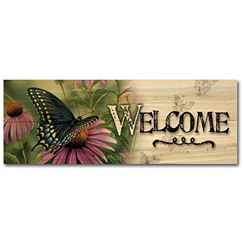 picture of WGI-GALLERY 248 Welcome Black Swallowtail Butterfly Wooden Wall Art