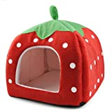SODIAL(R) Soft Strawberry Pet Igloo Dog Cat Bed House Kennel Doggy Cushion Basket Red - L