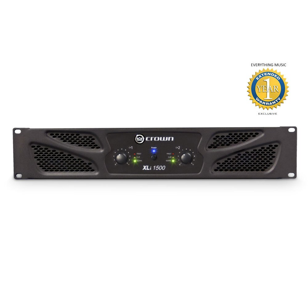 Crown XLi 1500 2-channel, 450W 4Ω Power Amplifier with 1 Year EverythingMusic Extended Warranty Free