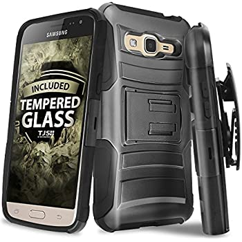 Samsung Galaxy J3/J3V/Sol Case, Galaxy Amp Prime Case, Express Prime Case With TJS Tempered Glass Screen Protector, Dual Layer Shockproof Hybrid Belt Clip ...