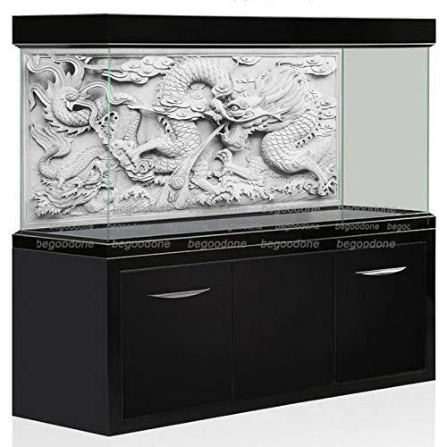 FidgetGear HD Aquarium Background Poster DIY Fish Tank Wall Decorations Grey Dragon Cameo 30