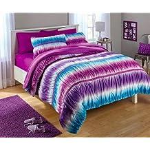 zone 3 Piece Teen Girls Reversible Tie Dye Ombre Ruched Full/Queen Comforter Set, Purple and Blue