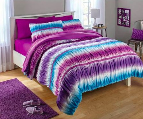 2pc Teen Girls Reversible Purple and Blue Tie Dye Ombre Ruched Twin Comforter Set (2pc Bed in a (Tie Dye Twin Bedding)