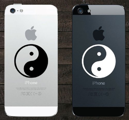 Yin and Yang Symbol Comes with (1x) Black and (1x) White Iphone Ipad Macbook Decal Skin Sticker Laptop (Black And White Winnie The Pooh Wall Stickers)