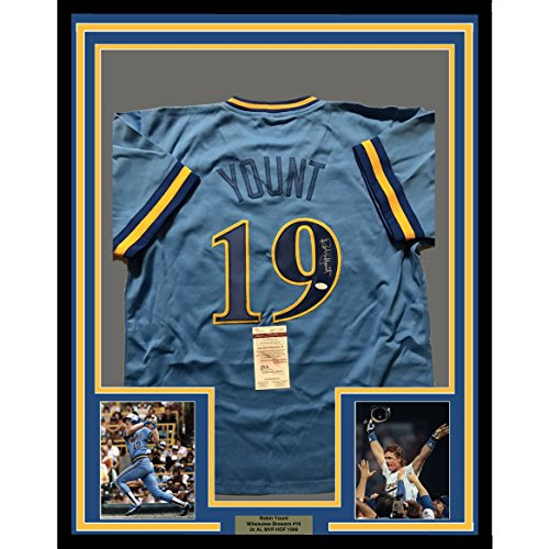 Framed Autographed/Signed Robin Yount 33x42 Milwaukee Blue Baseball Jersey JSA ()