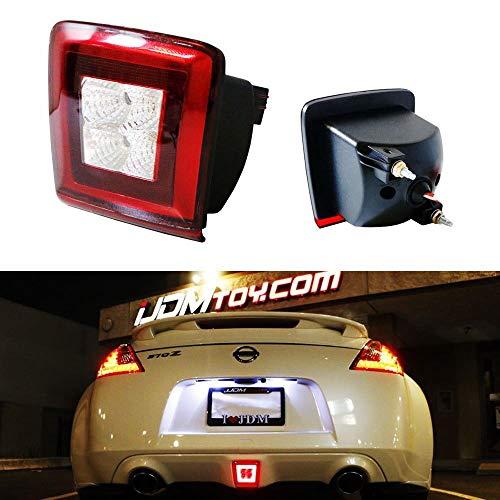 iJDMTOY OEM Red Lens LED Rear Fog Light Kit For 2009-up Nissan 370Z & 13-17 Juke Nismo, Powered by Red LED as Brake/Rear Fog & White LED as Backup Reverse Lamp