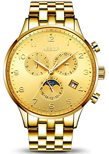 Luxury Business Automatic Mens Watch Moon Phase Date Stainless Steel Waterproof Sports Mechanical Watch (Gold)